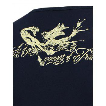 Bird Printed V Neck T-Shirt - 2XL 2XL