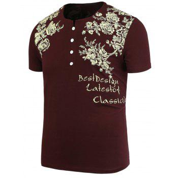 Half Button Embellished Flowers Printed T-Shirt - WINE RED 3XL