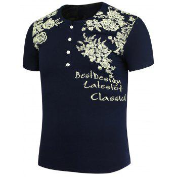 Half Button Embellished Flowers Printed T-Shirt - PURPLISH BLUE 3XL