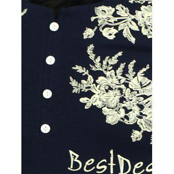 Half Button Embellished Flowers Printed T-Shirt - 3XL 3XL