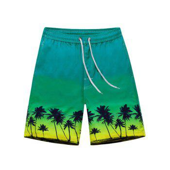 Tree Print Drawstring Waist Board Shorts