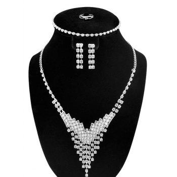 Rhinestoned V-Shaped Jewelry Set