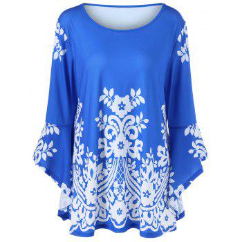 Plus Size Flare Sleeve Tiny Floral T-Shirt