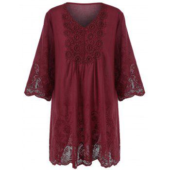 Plus Size Lace Embellished Peasant Tunic Top