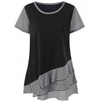 Plus Size Colorblock Layered Flounce T-Shirt