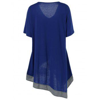 Plus Size V Neck Long Asymmetric T-Shirt - DEEP BLUE 2XL