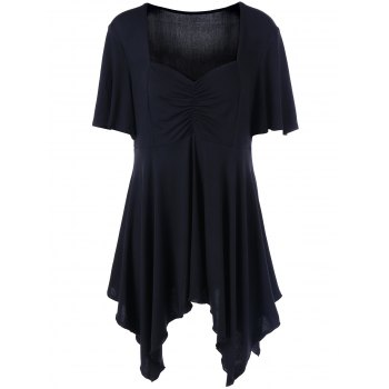 Plus Size Ruched Front Sweetheart Neck T-Shirt