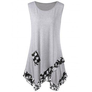 Lace Panel Flounce Tank Top with Pocket