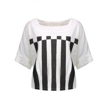 Geometric Print Asymmetrical Striped Blouse