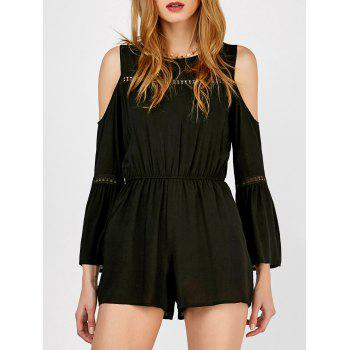 Cold Shoulder Openwork Lace Insert Romper