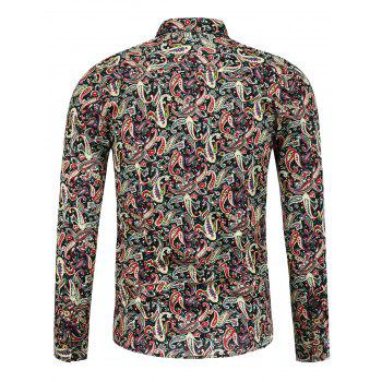 Paisley Print Long Sleeve Buttoned Shirt - FLORAL FLORAL
