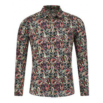Paisley Print Long Sleeve Buttoned Shirt - FLORAL M