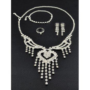 Heart Fringe Rhinestone Hollow Out Jewelry Set - SILVER