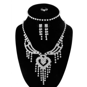 Heart Fringe Rhinestone Hollow Out Jewelry Set