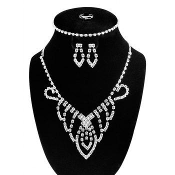 Teardrop Hollow Out Rhinestone Jewelry Set