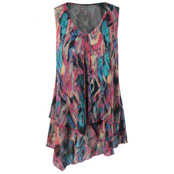 Tie Dye Overlay Asymmetrical Sleeveless Blouse