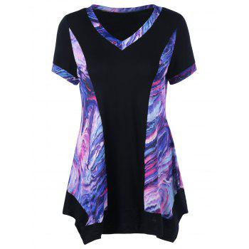 Colored Tie Dye Asymmetric Tee