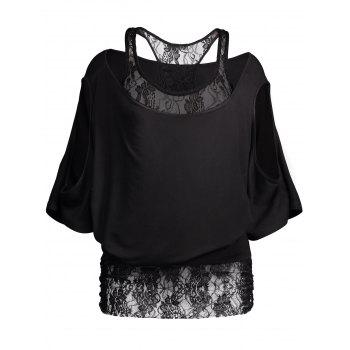 Lace Tee Insert Cold Shoulder Batwing Top