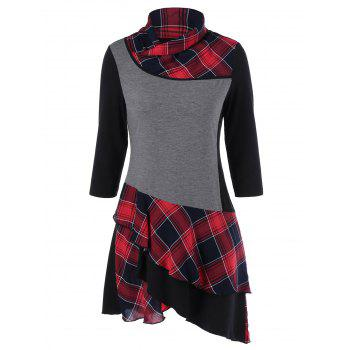 Plaid Panel Layered Asymmetric Dress With Sleeves