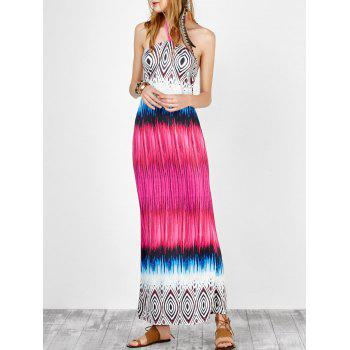 Printed Halter Open Back Maxi Dress