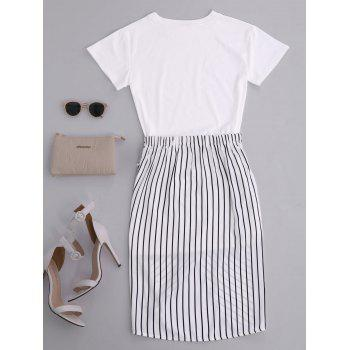 High Slit Striped Two Piece Dress - WHITE WHITE