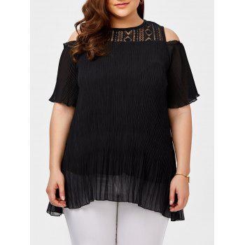 Plus Size Lace Insert Cold Shoulder Chiffon Blouse