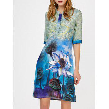 Floral Print Notched Collar Slit Shift Dress