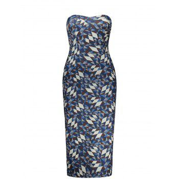 Strapless Empire Waist Geometric Print Pencil Dress