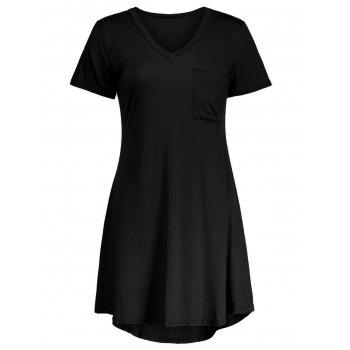 Mini Swing V Neck Casual T-Shirt Dress Wity Pockets