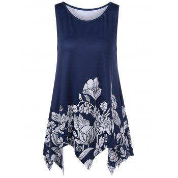 Long Flower Asymmetric Tank Top