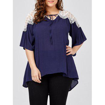 Plus Size Lace Insert Pleated Swing Blouse