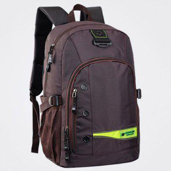 Casual Mesh Insert Nylon Backpack -  DEEP BROWN