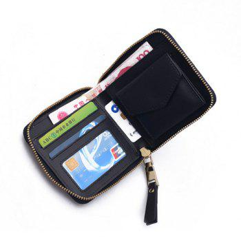 Zip Around Wing Patch Small Wallet -  BLACK