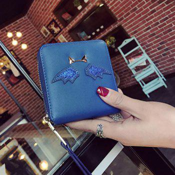 Zip Around Wing Patch Small Wallet - BLUE