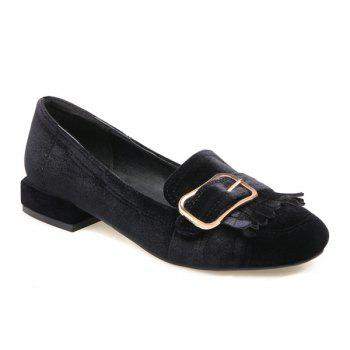 Fringe Velvet Flat Shoes