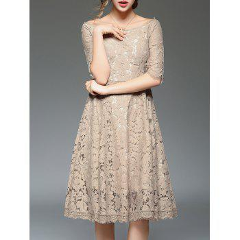Off The Shoulder High Waist Flare Lace Dress