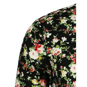 Long Sleeve Peony Pattern Shirt - FLORAL FLORAL