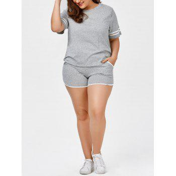 Plus Size Stripe Panel T-Shirt With Running Shorts