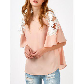 Bell Sleeve Lace Panel Chiffon Blouse