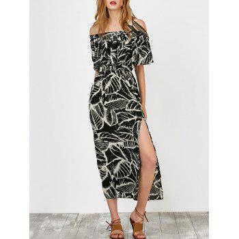 Flounce Off The Shoulder Printed High Waist Dress