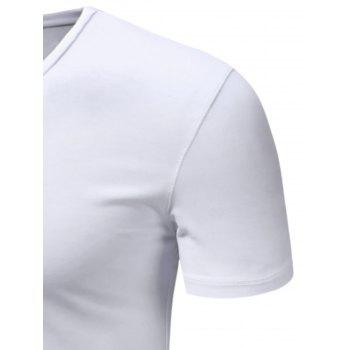 Slimming V Neck Short Sleeve T-Shirt - WHITE WHITE