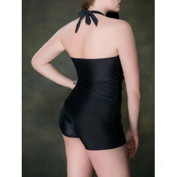 Plus Size Backless Halter Tankini With Shorts - BLACK 4XL