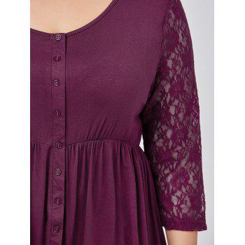 Plus Size Button Lace Insert Swing Top - PURPLISH RED 4XL
