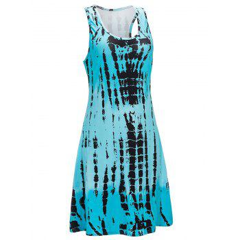 U Neck Abstract Print Mini Tank Dress - WINDSOR BLUE L