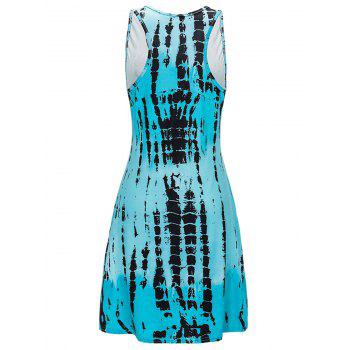U Neck Abstract Print Mini Tank Dress - WINDSOR BLUE XL
