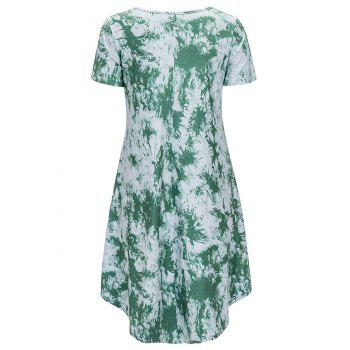 Scoop Neck Printed Asymmetrical Dress - GREEN XL