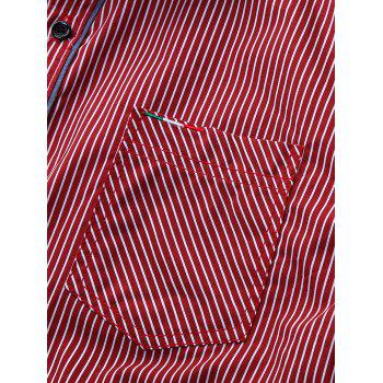 Embroidered Pocket Vertical Striped Shirt - RED XL