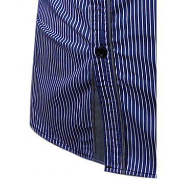 Embroidered Pocket Vertical Striped Shirt - BLUE 2XL
