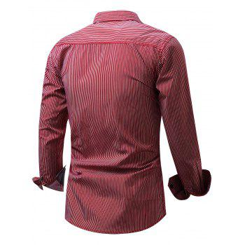Embroidered Pocket Vertical Striped Shirt - RED L