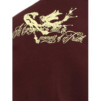 Bird Printed V Neck T-Shirt - WINE RED XL
